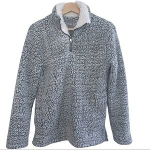 Faux Sherpa Warm Cozy Quarter Zip Sweater